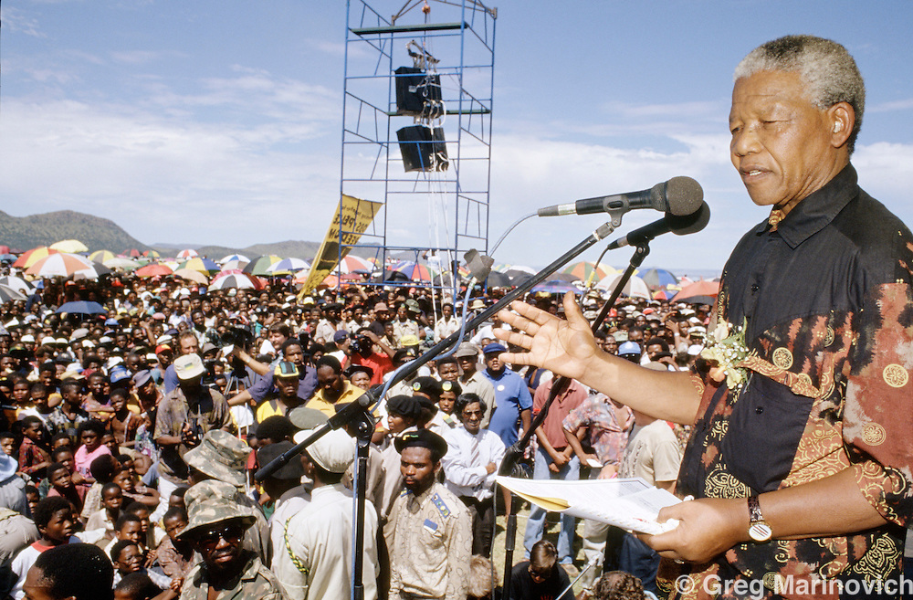 South Africa. Nelson Mandela on pre election campaign tour, 1994.