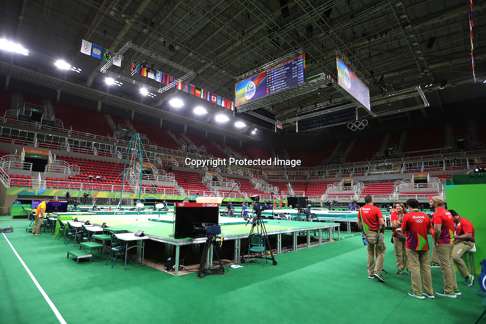 General veiw, AUGUST 3, 2016 - Artistic Gymnastics : Men's Official Training at Rio Olympic Arena during the Rio 2016 Olympic Games in Rio de Janeiro, Brazil. <br /> (Photo by Sho Tamura/AFLO SPORT)