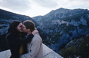 Canyon du Verdon at sunset. Lovers kissing.
