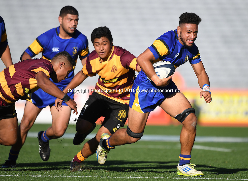 Otahuhu College (blue) v Liston College. First XV school rugby union. Eden Park, Saturday 30 April 2016. © Copyright photo: Andrew Cornaga / www.photosport.nz
