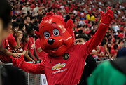 "Manchester United mascot ""Fred the Red"" waves to the crowds during an International Champions Cup game won by Manchester United 1-0, Saturday, July 20, 2019, in Singapore. (Kim Teo/Image of Sport)"
