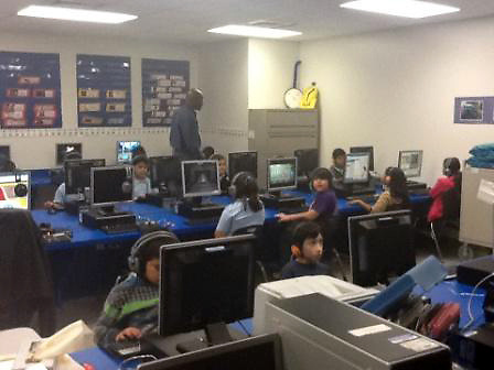 Students at B.K. Bruce Elementary School attend computer lab.