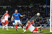 Aapo Halme (24) of Barnsley is put under pressure from John Marquis (10) of Portsmouth during the The FA Cup match between Portsmouth and Barnsley at Fratton Park, Portsmouth, England on 25 January 2020.