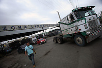 A truck exits from the Free Trade Zone in Colon, at the Atlantic gateway to the Panama Canal, in Panama on Friday, September 7, 2007. (Photo/Scott Dalton).