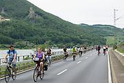 Fahrradfahrer, Veranstaltung Tal total, für Autos gesperrte Straßen im Rheintal, Rheingau, Hessen, Deutschland.|.cyclists, Tal total, roads closed for traffic, Rheingau, Hessen, Germany