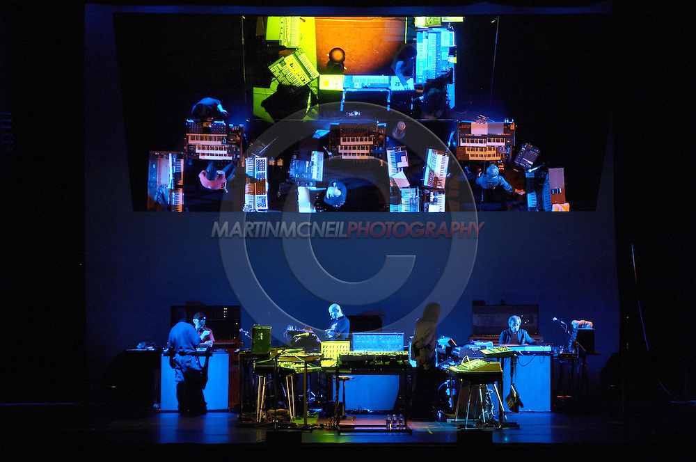 A full view of the elaborate stage set-up used for Jarre's live performance of Oxygene