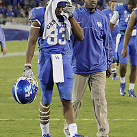 September 15, 2012 - Lexington, Kentucky, USA - UK wide receiver DEMARCUS SWEAT walks off the field after Western Kentucky University defeated the University of Kentucky, 32-31, on a trick play in overtime. (Credit Image: © David Stephenson/ZUMA Press).