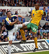 Cardiff - Saturday August 23rd, 2008: Mark Kennedy of Cardiff City and Elliot Omozusi of Norwich City during the Coca Cola Championship match at The Ninian Park, Cardiff. (Pic by Paul Hollands/Focus Images)