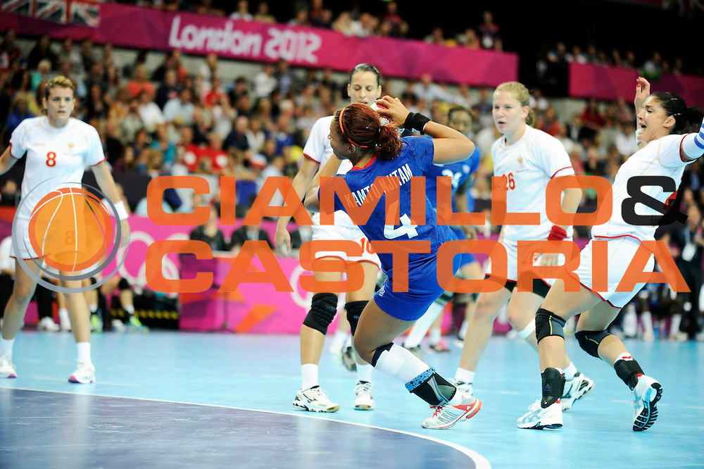 DESCRIZIONE : Handball Jeux Olympiques Londres Quart de Finale<br /> GIOCATORE : FRA<br /> SQUADRA : France Femme<br /> EVENTO : FRANCE Handball Jeux Olympiques<br /> GARA : France Montenegro<br /> DATA : 08 08 2012<br /> CATEGORIA : handball Jeux Olympiques<br /> SPORT : HANDBALL<br /> AUTORE : JF Molliere <br /> Galleria : France JEUX OLYMPIQUES 2012 Action<br /> Fotonotizia : France Handball Femme Jeux Olympiques Londres Quart de Finale Copper Box<br /> Predefinita :