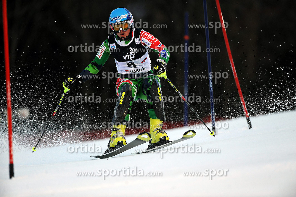 04.01.2013, Crveni Spust, Zagreb, AUT, FIS Ski Alpin Weltcup, Slalom, Damen, 1. Lauf, im Bild Tanja Poutiainen (FIN) // Tanja Poutiainen of Finland  in action during 1st Run of the ladies Slalom of the FIS ski alpine world cup at Crveni Spust course in Zagreb, Croatia on 2013/01/04. EXPA Pictures © 2013, PhotoCredit: EXPA/ Erich Spiess