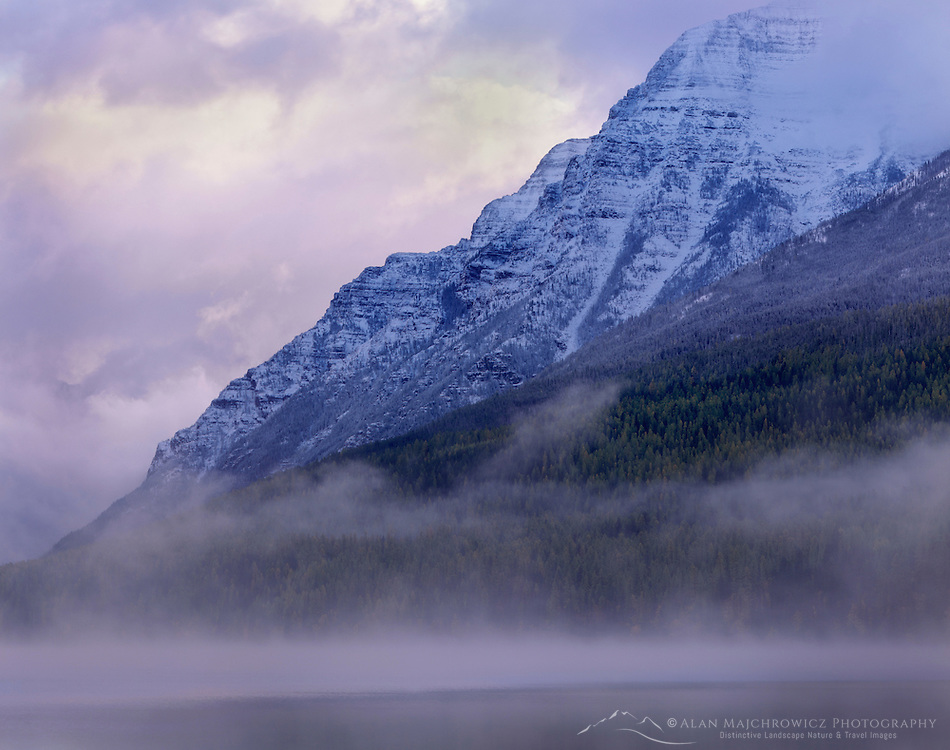 Fog lifting off Bowman Lake, Glacier National Park Montana