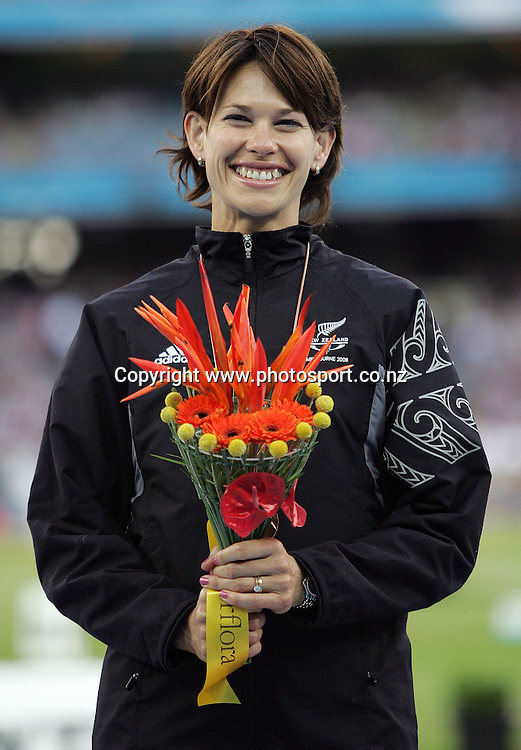 Angela McKee (NZL) after receiving the bronze medal in the Women's High Jump final on Day 9 of the XVIII Commonwealth Games at the MCG, Melbourne, Australia on Friday 24 March, 2006. Photo: Hannah Johnston/PHOTOSPORT