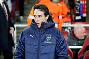 Arsenal's manager Unai Emery before the Europa League group stage match between Arsenal and FK QARABAG at the Emirates Stadium, London, England on 13 December 2018.