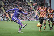 Jordan Botaka (on loan from Leeds United) (Charlton Athletic) takes a shot during the EFL Sky Bet League 1 match between Bradford City and Charlton Athletic at the Coral Windows Stadium, Bradford, England on 10 December 2016. Photo by Mark P Doherty.