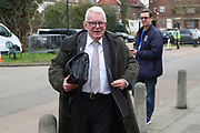 John Motson arriving during the The FA Cup 5th round match between AFC Wimbledon and Millwall at the Cherry Red Records Stadium, Kingston, England on 16 February 2019.