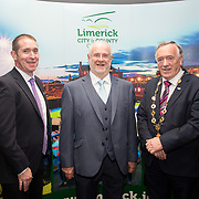10.10. 2017.          <br /> Pictured at the Limerick Going for Gold 2017 finals in the Strand Hotel were, Dave Hennessy, Limerick City and County Council, Roger Beck, Parkway Shopping Centre and Mayor of the City and County of Limerick Cllr Stephen Keary.<br /> <br /> <br /> Limerick Going for Gold, which is sponsored by the JP McManus Charitable Foundation, has a total prize pool of over €75,000.  It is organised by Limerick City and County Council and supported by Limerick's Live 95FM, The Limerick Leader and The Limerick Chronicle, The Limerick Post, Parkway Shopping Centre, I Love Limerick and Southern Marketing Media & Design. Picture: Alan Place