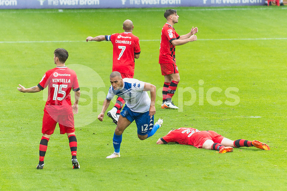 James Vaughan of Bury celebrates scoring his sides second goal during the EFL Sky Bet League 1 match between Walsall and Bury at the Banks's Stadium, Walsall, England on 27 August 2016. Photo by Darren Musgrove.