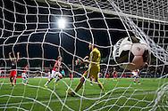 ROTTERDAM, Excelsior Rotterdam - PSV, voetbal, Eredivisie seizoen 2016-2017, 24-9-2016, Stadion Woudenstein, PSV speler Luuk de Jong (M) scoort de 1-2, Excelsior keeper Tom Muyters (2R).