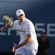 Andy Roddick, USA,  in action against Juan Martin Del Potro, Argentina, during the US Open Tennis Tournament, Flushing, New York. USA. 5th September 2012. Photo Tim Clayton