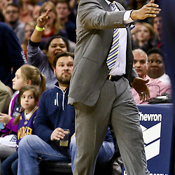 Feb 10, 2016; New Orleans, LA, USA; New Orleans Pelicans head coach Alvin Gentry against the Utah Jazz during the fourth quarter of a game at the Smoothie King Center. The Pelicans defeated the Jazz 100-96. Mandatory Credit: Derick E. Hingle-USA TODAY Sports