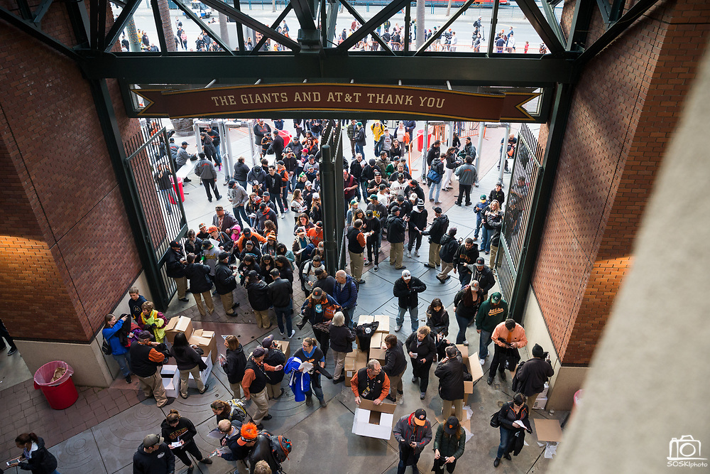 Guests fill into the stadium before the San Francisco Giants host the Oakland Athletics at AT&T Park in San Francisco, California, on March 30, 2017. (Stan Olszewski/Special to S.F. Examiner)