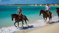 Rendezvous Bay, Anguilla - January 7, 2015: Visitors ride horses along the tranquil shores of Rendezvous Bay courtesy of Seaside Stables. For those who are looking for more adventure, Seaside Stables allows riders to take the horses into the water for a fee. CREDIT: Chris Carmichael for The New York Times