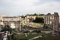 ROME, ITALY - 20 JULY 2014: A view of the Imperial Fora showed to the De Blasio family during their visit to the Campidoglio ((the municipal government of Rome), in Rome, Italy, on July 20th 2014.<br /> <br /> New York City Mayor Bill de Blasio arrived in Italy with his family Sunday morning for an 8-day summer vacation that includes meetings with government officials and sightseeing in his ancestral homeland.