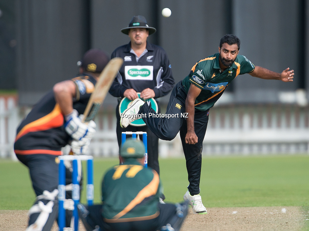 Tarun Nethula (R of CD bowls during the Ford Trophy One Day cricket match between the Wellington Firebirds and Central Districts at the Basin Reserve in Wellington on Sunday the 23rd March 2014.  Photo by Marty Melville/Photosport.co.nz