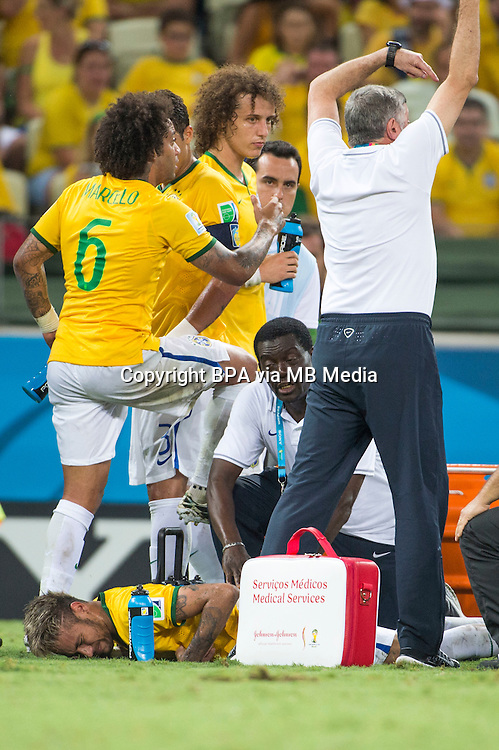 Neymar da Silva Santos Junior (Brazil)           ; <br /> July 04; 2014 - Football : Fifa World Cup Brazil  2014; Match 57; final match between Brazil 2-1 Colombia  at<br /> Estadio Castelao; Fortaleza, Brazil.;  accident ;( photo by aicfoto)(ITALY) [0855]