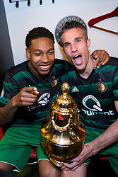 Jean-Paul Boetius of Feyenoord, Robin van Persie of Feyenoord, cup, trophy, dressing room during the Dutch Toto KNVB Cup Final match between AZ Alkmaar and Feyenoord on April 22, 2018 at the Kuip stadium in Rotterdam, The Netherlands.