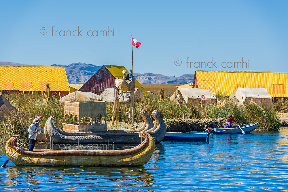 Puno, Peru - July 26, 2013: Uros floating islands in the peruvian Andes at Puno Peru on july 26th, 2013