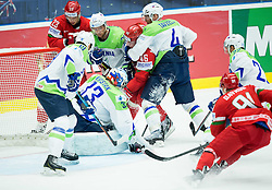 Andrei Kostitsyn of Belarus scores vs Robert Kristan of Slovenia, Luka Vidmar and Andrej Tavzelj of Slovenia during Ice Hockey match between Belarus and Slovenia at Day 2 in Group B of 2015 IIHF World Championship, on May 2, 2015 in CEZ Arena, Ostrava, Czech Republic. Photo by Vid Ponikvar / Sportida