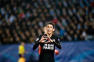25.11.2015. Malm&ouml;, Sweden. <br /> &Aacute;ngel Di Mar&iacute;a of Paris celebrates after scoring their third goal during their UEFA Champions League match against Malm&ouml; FF.<br /> Photo: &copy; Ricardo Ramirez.