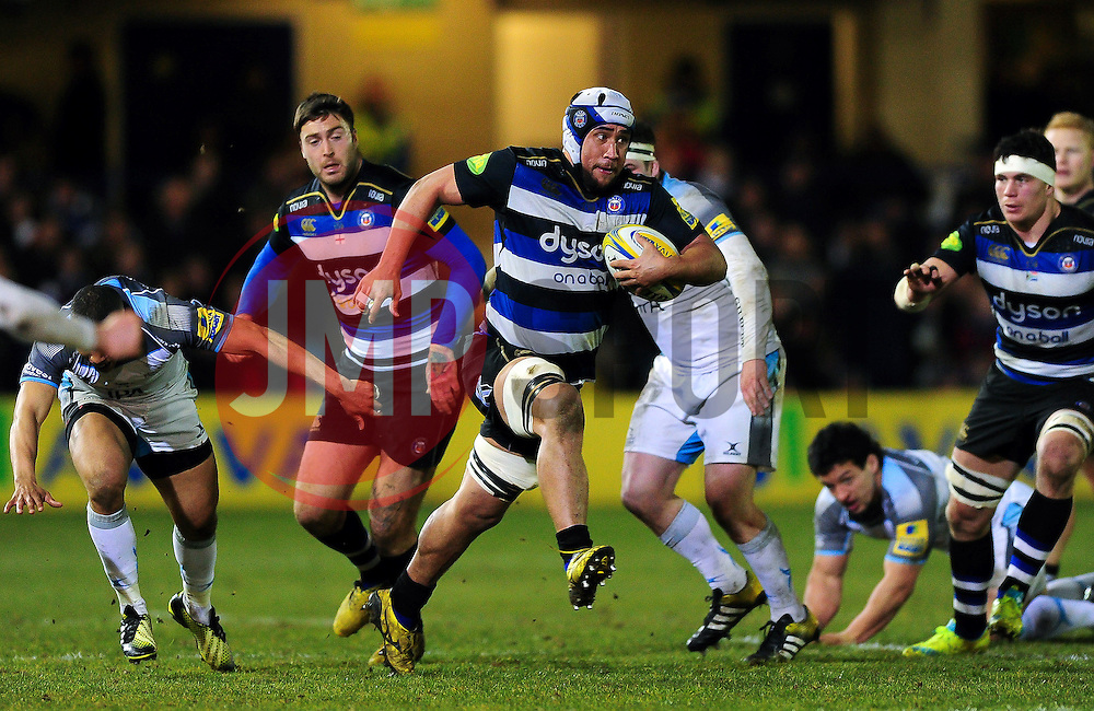 Leroy Houston of Bath Rugby goes on the attack - Mandatory byline: Patrick Khachfe/JMP - 07966 386802 - 18/03/2016 - RUGBY UNION - The Recreation Ground - Bath, England - Bath Rugby v Newcastle Falcons - Aviva Premiership.