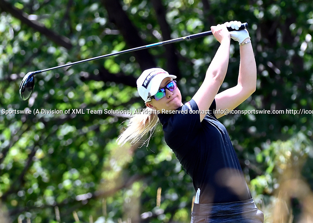 OLYMPIA FIELDS, IL - JULY 01: Jodi Ewart Shadow of England plays the ball from the fifth tee during the third round of the 2017 KMPG PGA Championship at Olympia Fields on July 1, 2017 in Olympia Fields, Illinois. (Photo by Quinn Harris/Icon Sportswire)