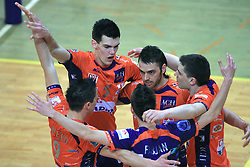 Players of ACH Alen Sket, Angel Perez, Andrej Flajs celebrate at last final volleyball match of 1.DOL Radenska Classic between OK ACH Volley and Salonit Anhovo, on April 21, 2009, in Arena SGS Radovljica, Slovenia. ACH Volley won the match 3:0 and became Slovenian Champion. (Photo by Vid Ponikvar / Sportida)