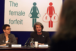 Publication of a report, women's income over the lifetime. Showing discrimination between men and women's salaries..L to R, Ministers for Women, Margaret Jay, Tessa Jowell, February 21, 2000. Photo by Andrew Parsons / i-images..