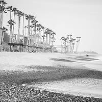 San Clemente CA beach black and white panoramic picture. San Clemente is a popular coastal beach city along the Pacific Ocean in Orange County Southern California. Panoramic photo ratio is 1:3. Copyright ⓒ 2017 Paul Velgos with All Rights Reserved.