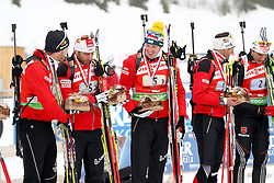 11.12.2011, Biathlonzentrum, Hochfilzen, AUT, E.ON IBU Weltcup, 2. Biathlon, Hochfilzen, Staffel Herren, im Bild fuenftplatzierte Eder Simon (Team Austria) Mesotitsch Daniel (Team Austria) Landertinger Dominik (Team Austria) Sumann Christoph (Team Austria) mit Peiffer Arnd (Team Germany) // during Team Relay  E.ON IBU World Cup 2th Biathlon, Hochfilzen, Austria on 2011/12/11. EXPA Pictures © 2011. EXPA Pictures © 2011, PhotoCredit: EXPA/ nph/ Straubmeier..***** ATTENTION - OUT OF GER, CRO *****