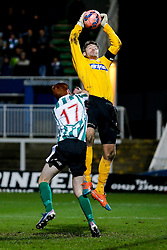 Scott Flinders of Hartlepool United is challenged by Michael Richardson of Blyth Spartans - Photo mandatory by-line: Rogan Thomson/JMP - 07966 386802 - 05/12/2014 - SPORT - FOOTBALL - Hartlepool, England - Victoria Park - Hartlepool United v Blyth Spartans - FA Cup Second Round Proper.