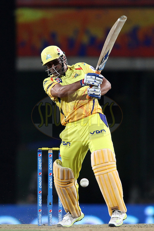 MS Dhoni captain of The Chennai Super Kings slaps a delivery to the boundary during match 21 of the Pepsi Indian Premier League Season 2014 between the Chennai Superkings and the Kolkata Knight Riders  held at the JSCA International Cricket Stadium, Ranch, India on the 2nd May  2014<br /> <br /> Photo by Shaun Roy / IPL / SPORTZPICS<br /> <br /> <br /> <br /> Image use subject to terms and conditions which can be found here:  http://sportzpics.photoshelter.com/gallery/Pepsi-IPL-Image-terms-and-conditions/G00004VW1IVJ.gB0/C0000TScjhBM6ikg