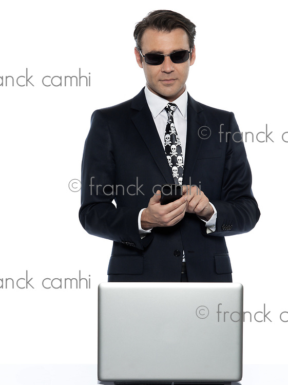 man computer hacker  pirate caucasian in studio isolated on white background