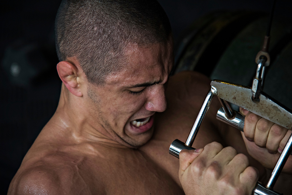 June 7, 2017 / Yorba Linda, Calif.<br /> <br /> Aaron Pico, 20, does a close grip lat pull during circuit training during an intense morning workout with his strength and conditioning coach. (Melissa Lyttle for ESPN)