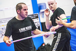 The hoop as prop, Stef Noij, KMG Instructor from the Institute Krav Maga Netherlands, at the IKMS G Level Programme seminar today at the Scottish Martial Arts Centre, Alloa.