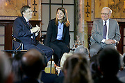 Bill Gates, Melinda French Gates and Warren Buffett hold town hall discussion, Monday, June 26, 2006, at New York Public Library.
