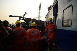 November 20, 2016 - Pukhrayan, Kanpur, India - Indian resuers of NDRF team performs rescue work  near of derailed Indore Patna Express train, in Pukhrayan village, some 60 kms from Kanpur, on November 20,2016. More than 150 people died in Accident, According to officials. (Credit Image: © Ritesh Shukla/NurPhoto via ZUMA Press)
