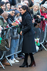 © Licensed to London News Pictures. 18/01/2018. Cardiff, UK. Meghan Markle and Prince Harry (not pictured) arrive at Cardiff Castle to visit the Wales Culture Fair. Photo credit : Tom Nicholson/LNP