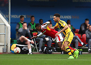 Darnell Fisher (left) of Rotherham United is fouled by Ryan Fredericks of Fulham during the Sky Bet Championship match at the New York Stadium, Rotherham<br /> Picture by James Wilson/Focus Images Ltd 07709 548263<br /> 01/04/2017