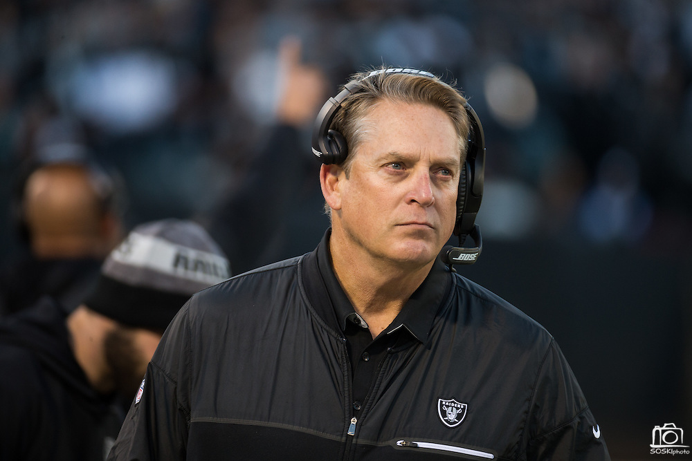 Oakland Raiders head coach Jack Del Rio watches his team from the sidelines during a NFL game against the Indianapolis Colts at Oakland Coliseum in Oakland, Calif., on December 24, 2016. (Stan Olszewski/Special to S.F. Examiner)