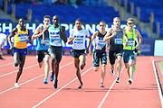 David Rudisha (KEN) defeats Pierre-Ambroise Bosse (FRA) to win the 600m, 1:13.10 to 1:13.21 during IAAF Birmingham Diamond League meeting at Alexander Stadium on Sunday, June 5, 2016, in Birmingham, United Kingdom. From left: Andrew Rotich (KEN), Bosse, Rudisha, Michael Rimmer (GBR), Marcin Lewandowski (POL), Erik Sowinski (USA) and Joshua Ralph (AUS). Photo by Jiro Mochizuki